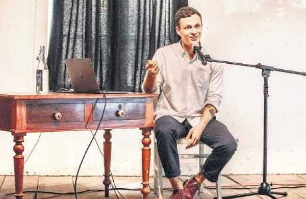 Artist Anton Kats interacting with audience at the 'Let's Talk' session organised by Kochi Biennale Foundation