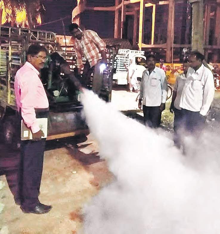 Guntur Municipal Corporation employees conducting fogging activities  at the 46th and 47th wards of the city on Tuesday