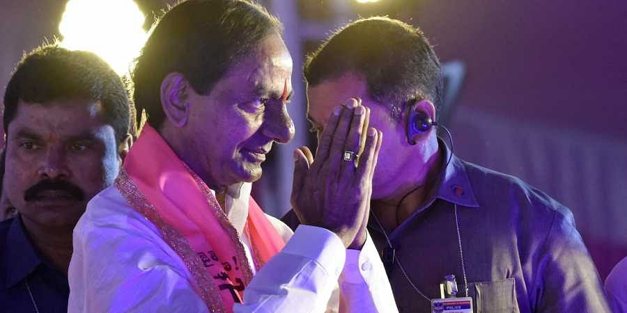 CM KCR greets people at the plenary session at the GBR Cultural Centre at Kompally (EPS | Vinay Madapu)