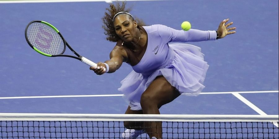 Serena Williams returns a shot to Anastasija Sevastova, of Latvia, during the semifinals of the U.S. Open tennis tournament. (Photo   AP)