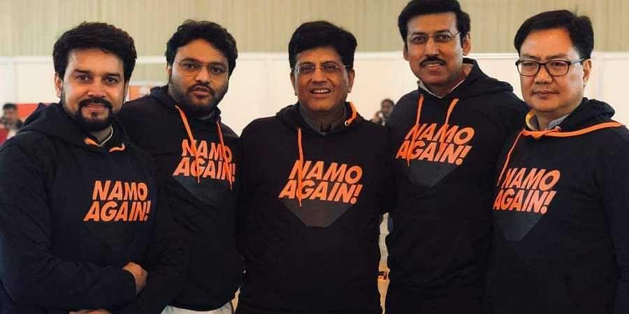5f22fa68 BJP leaders in 'NaMo Again' Hoodies. (Photo   Rajyavardhan Rathore Twitter)