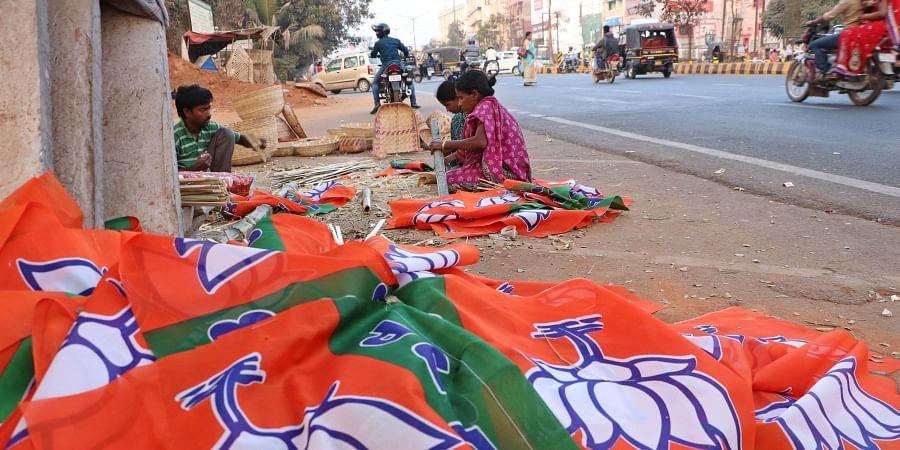BJP flags