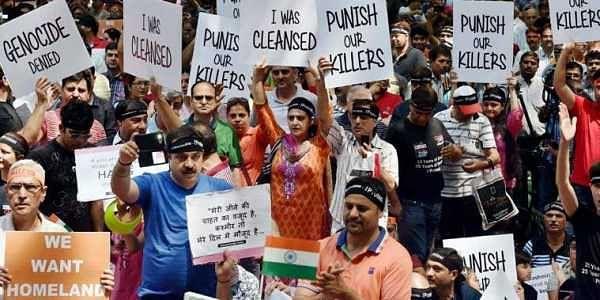 Kashmiri Pandits at a protest. (Photo | File/ PTI)