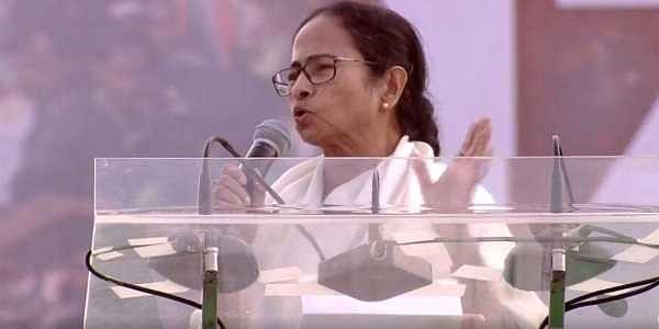 TMC chief Mamata Banerjee at her mega opposition rally in Kolkata on 19 January 2019. (Photo | TMC/ Twitter)