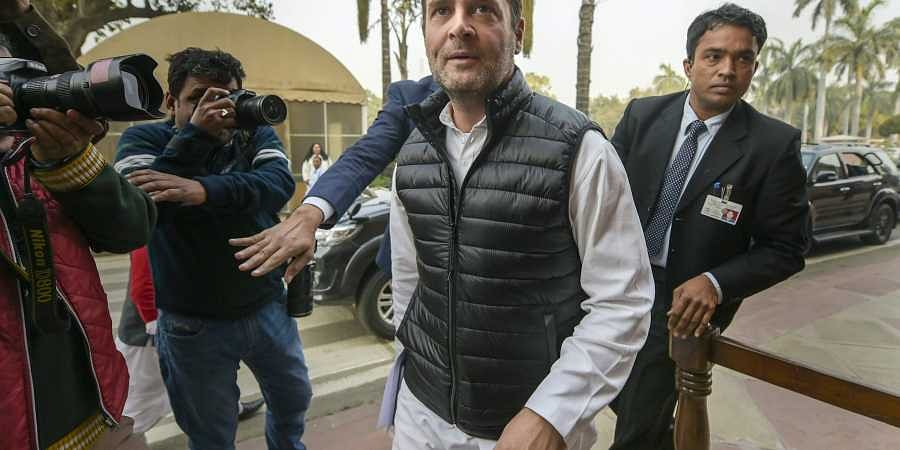 Congress President Rahul Gandhi arrives at Parliament during its Winter Session in New Delhi. (Photo | PTI)