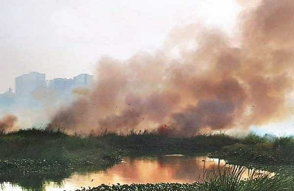 A burning Varthur lake.