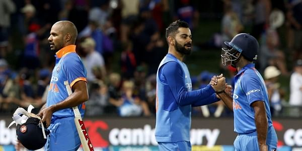 India's Virat Kohli, center, congratulates India's Ambati Rayudu and Shikhar Darma after winning during the one-day international cricket match between New Zealand and India in Napier, New Zealand, Wednesday, Jan. 23, 2019.  | AP