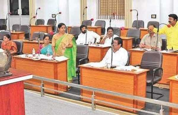 TDP and YSRC corporators during the VMC budget meeting at council hall in city on Tuesday I Express