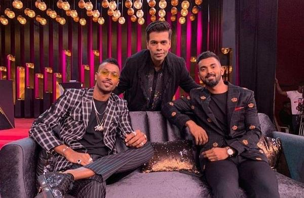 Hardik Pandya and KL Rahul with Karan Johar. (Photo | Instagram @hardikpandya93)