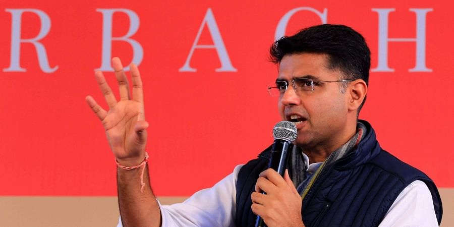 Rajasthan Deputy Chief Minister Sachin Pilot speaks during a session at the Jaipur Literature Festival 2019. (Photo | PTI)