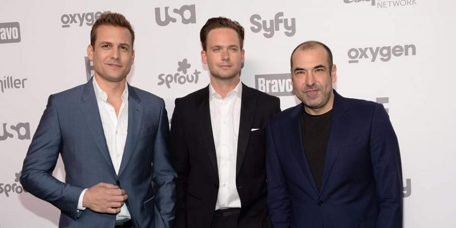 Gabriel Macht, from left, Patrick J. Adams and Rick Hoffman of 'Suits'.