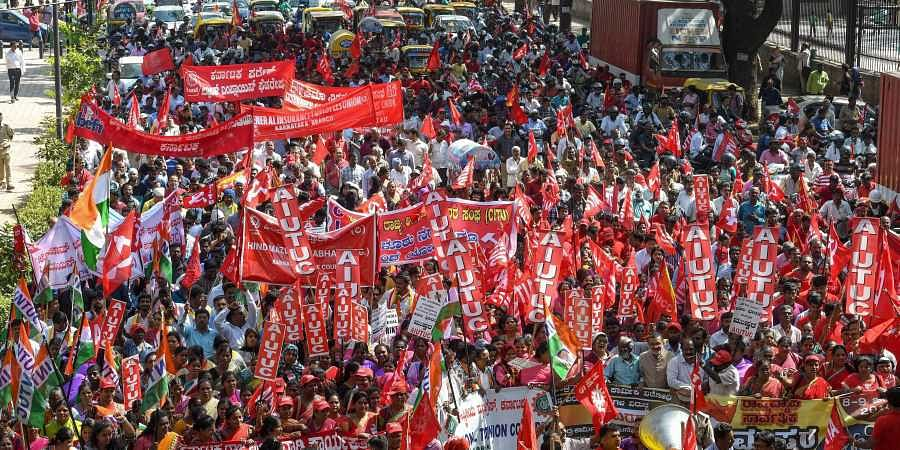 Bengaluru strike, central trade unions