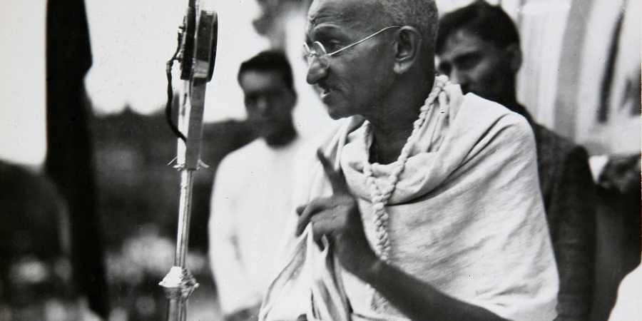 In this file photo dated 1931, Mahatma Gandhi talks to a crowd in India