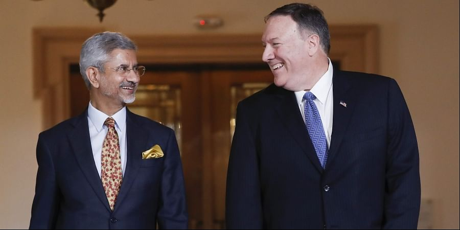 Secretary of State Mike Pompeo with Indian counterpart S Jaishankar at the US State Department in Washington.