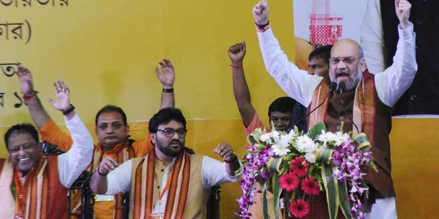 BJP President and Home Minister Amit Shah at Netaji Indoor Stadium, Kolkata.