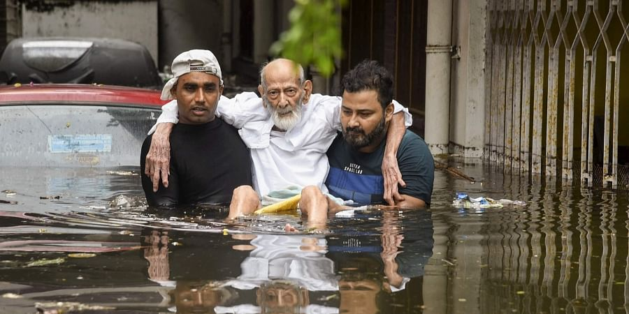 An elderly person being rescued from a flood-affected colony at Rajendra Nagar in Patna Monday Sept. 30 2019. | (Photo | PTI)