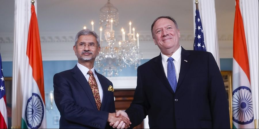 Secretary of State Mike Pompeo, right, shakes hands with Indian counterpart Subrahmanyam Jaishankar, left, at the US State Department in Washington, Monday, Sept. 30, 2019. | (Photo | AP)