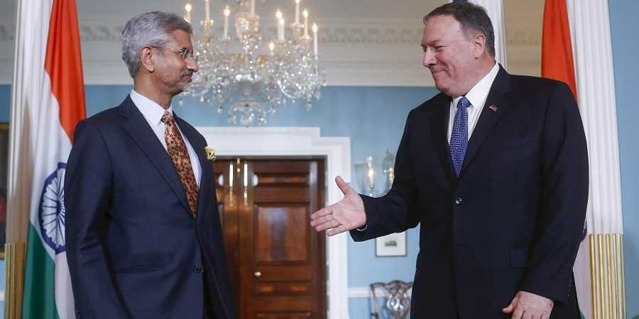 Secretary of State Mike Pompeo, right, extends his hand to his Indian counterpart Subrahmanyam Jaishankar, left, at the US State Department in Washington, Monday, Sept. 30, 2019. | (Photo | AP)