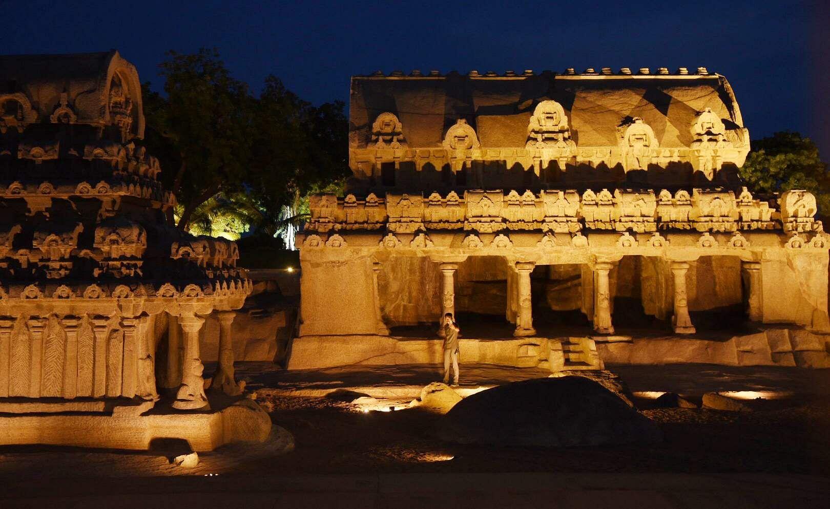 Lighting has been put up at five rathas at Mahabalipuram ahead of the meet between Chinese President Xi Jinping and PM Modi. (Photo | EPS/R.Satish babu)