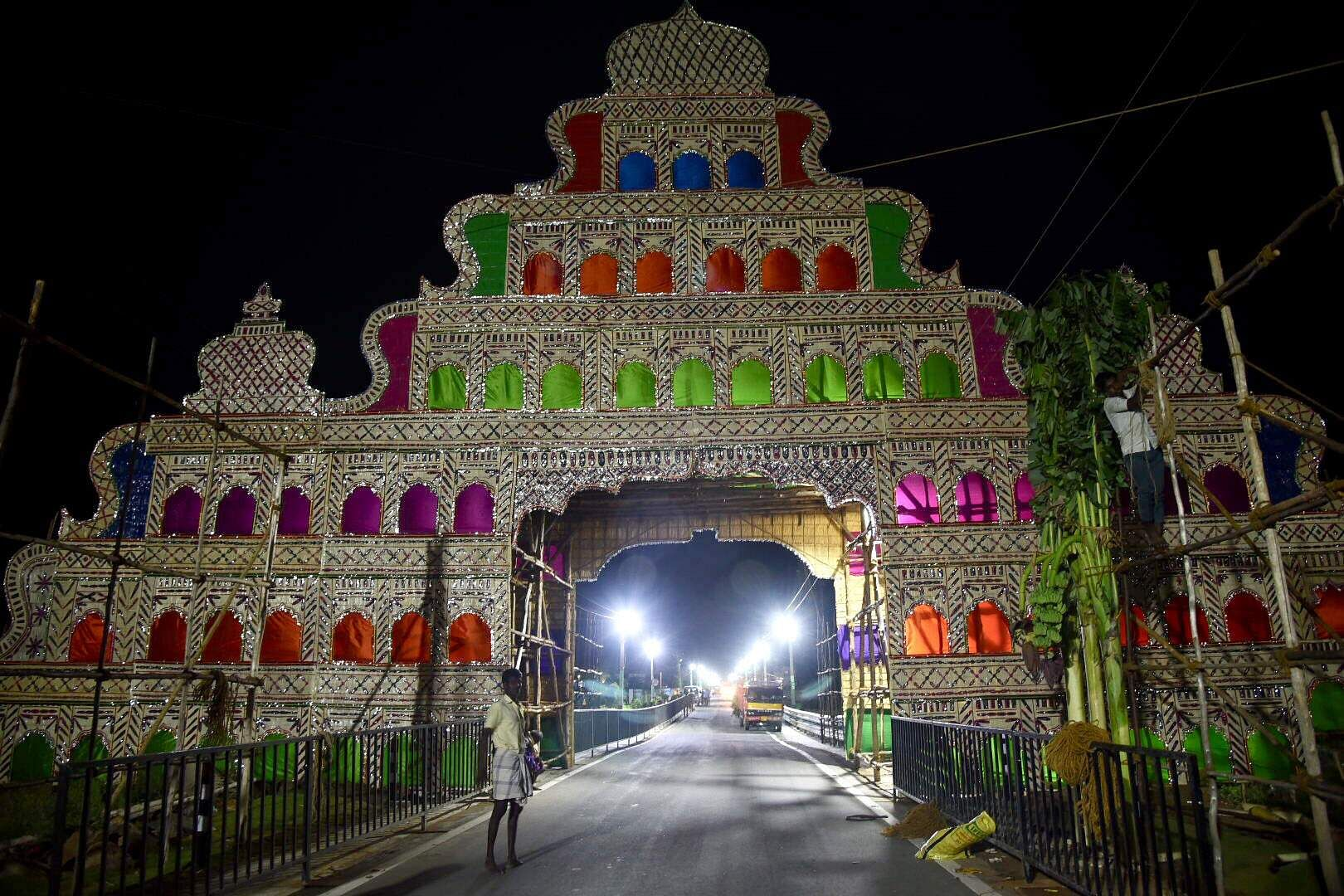 The entrance of fisherman cove has been decorated where Prime Minister Narendra Modi will stay. (Photo | EPS/R.Satish babu)