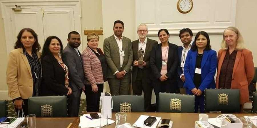 Jeremy Corbyn with UK representatives from the Indian Congress Party.