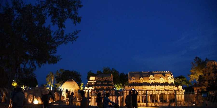 Lighting has been put up at five rathas at mahabalipuram for the Chinese President Xi Jinping to meet PM Modi in Chennai on Oct 11-12 for second informal summit. | (R Sathish Babu | EPS)