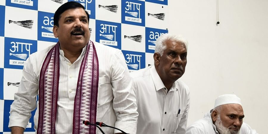 AAP Rajya Sabha member Sanjay Singh and other Leaders to addresses a press conference at party headquarters in New Delhi on Wednesday Oct. 9 2019.