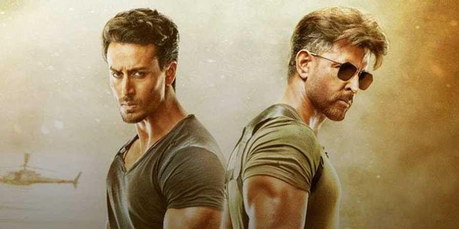 Bollywood actors Hrithik Roshan and Tiger Shroff in 'War'.