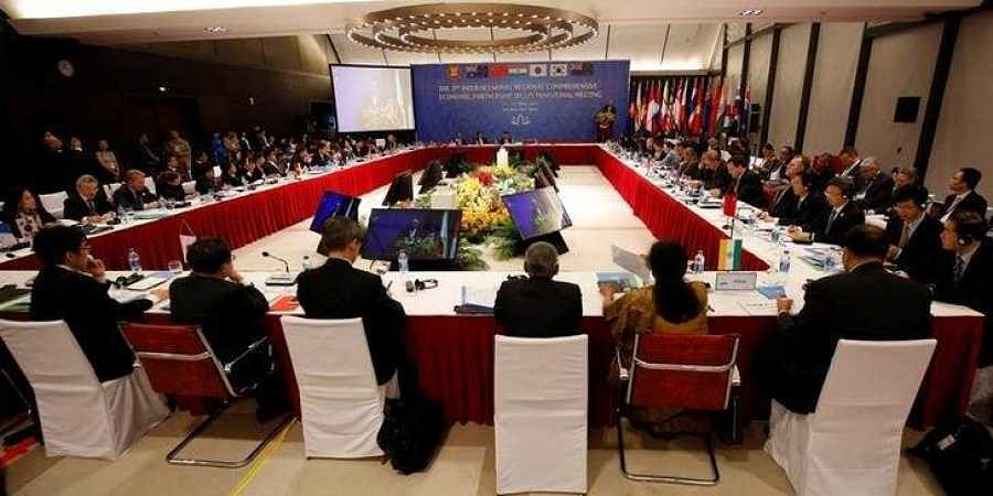Trade ministers attend the 3rd Inter-sessional Regional Comprehensive Economic Partnership (RCEP) Ministerial Meeting in Hanoi, Vietnam