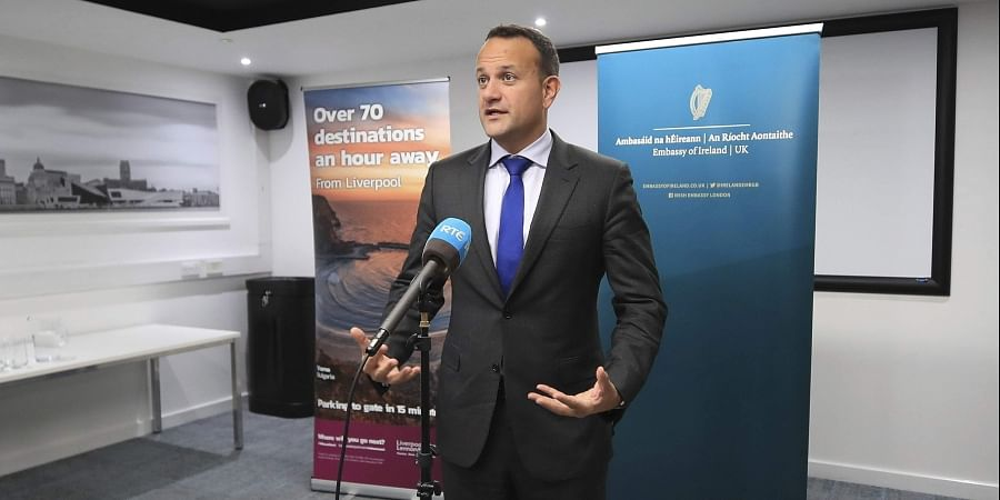 Ireland's Taoiseach Leo Varadkar speaks to the media following private talks with Britain's Prime Minister Boris Johnson, at Liverpool Airport, England.