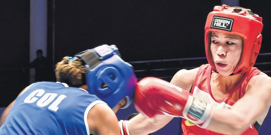 MC Mary Kom during her 51kg World Championship quarterfinal against Ingrit Valencia, in Ulan-Ude, Russia, on Thursday.