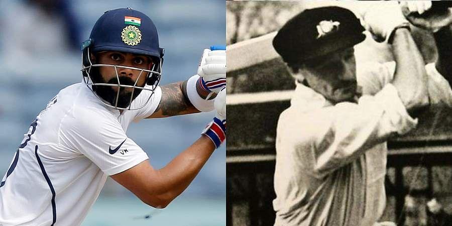 India skipper Virat Kohli (L) and Australian batting legend Don Bradman