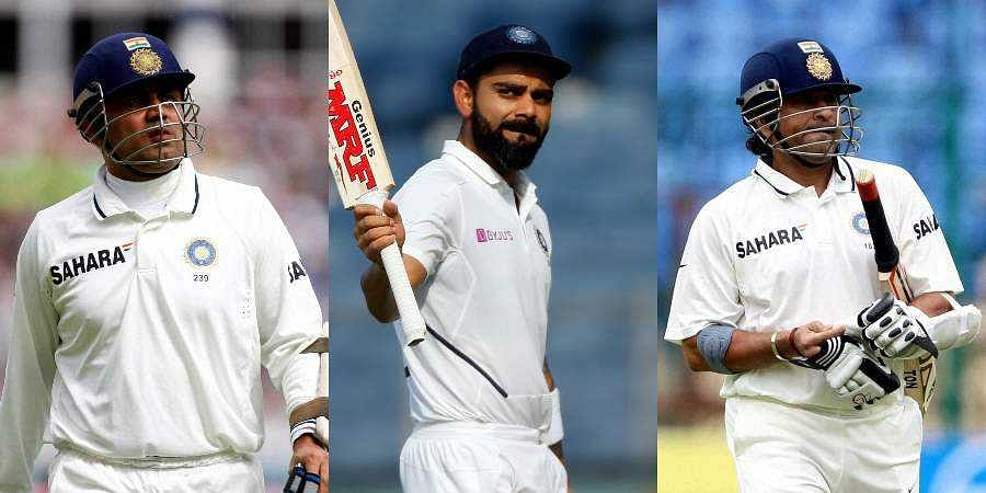 (From L) Former Indian cricketer Virender Sehwag, star batsman Virat Kohli and Indian batting legend Sachin Tendulkar