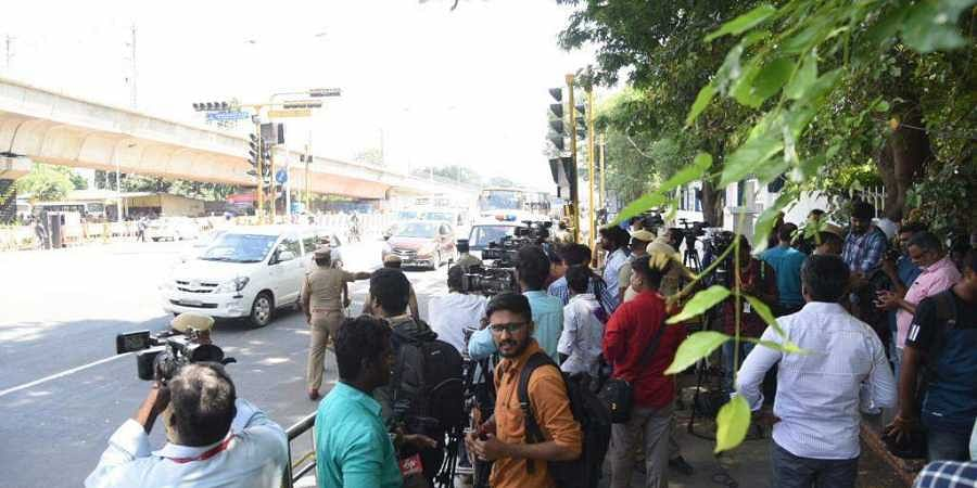 Media waiting near airport for the arrival of Chinese President Xi Jinping, in Chennai today.