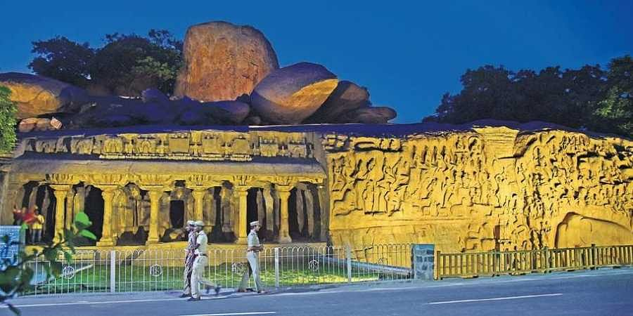 The lit-up sculpture depicting Arjuna's Penance at Mahabs on the eve of the Modi-Xi summit