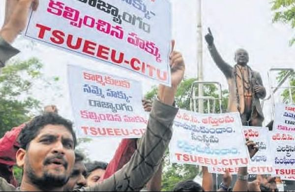 Protesting TSRTC workers trying to enlist support from other employee unions