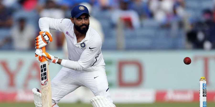 Ravindra Jadeja bats during the second day of the second cricket test match between India and South Africa in Pune
