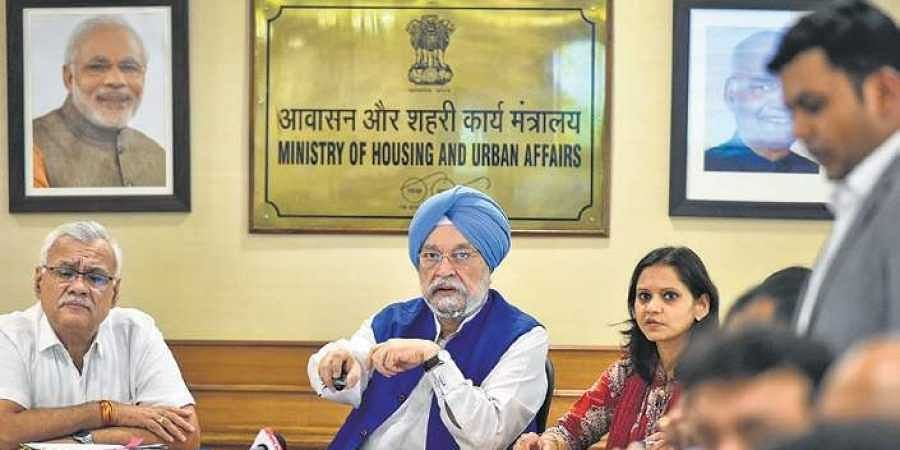 Minister of State for Housing & Urban Affairs Hardeep S Puri at the launch of a mobile app 'mHaryali' at Nirman Bhawan in New Delhi, on Friday.