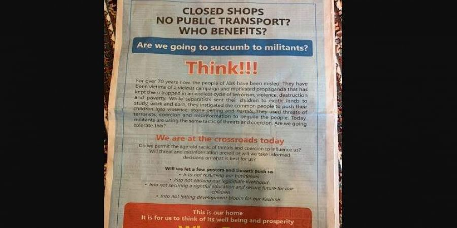 Jammu and Kashmir government's full-page advertisements in local newspapers.