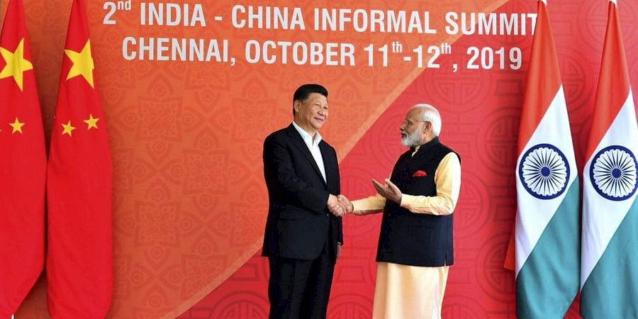 Prime Minister Narendra Modi with Chinese President Xi Jinping at Fisherman's Cove in Kovalam near Mamallapuram Saturday Oct. 12 2019. (Photo | Twitter)
