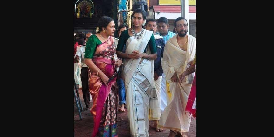 Ace shuttler P V Sindhu after visiting in Thiruvananthapuram on Wednesday.