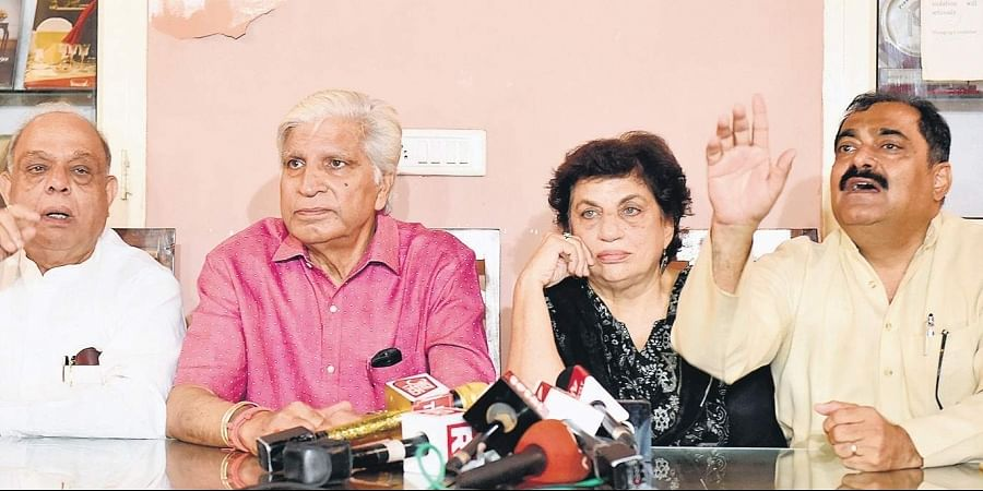 Senior leaders of the Delhi Congress (from Left) Mangat Ram Singhal, Ramakant Goswamy, Kiran Walia and Jitender Kochar address the media at Press Club of India in New Delhi on Friday.