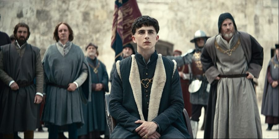 This image released by Netflix shows Timothee Chalamet, center, in a scene from 'The King.' (Photo | AP)
