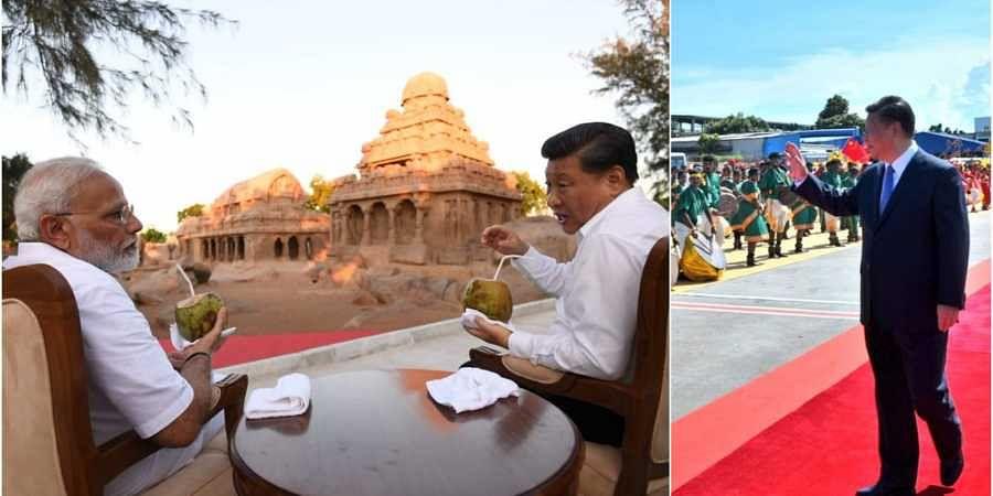 Modi and Jinping-Mahabalipuram-photos