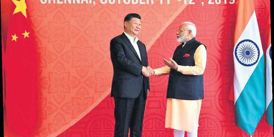 Prime Minister Narendra Modi with Chinese President Xi Jinping, at Fisherman's Cove in Mamallapuram