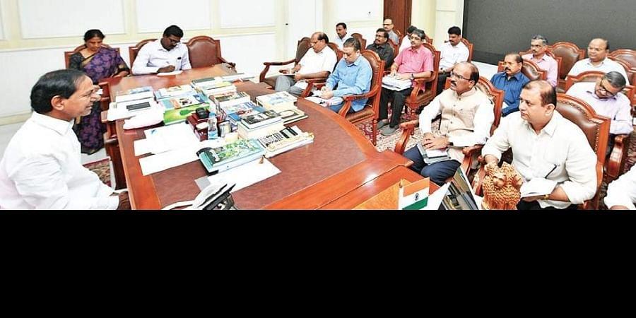 K Chandrasekhar Rao during a review meeting on the RTC strike at Telangana Bhavan on Saturday.