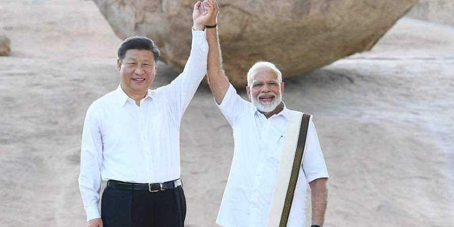 PM Narendra Modi and Chinese President Xi Jinping in Mamallapuram, Tamil Nadu on 11 October 2019.