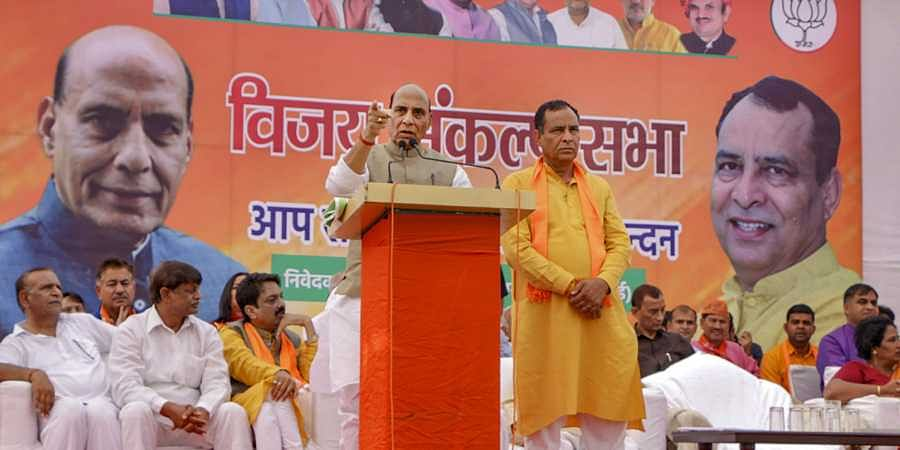 Union Defence Minister Rajnath Singh addresses a public meeting ahead of Haryana Assembly elections in Assandh Haryana Sunday Oct. 13 2019. | (Photo | PTI)