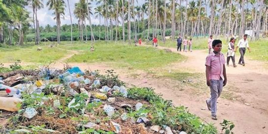 Garbage piling up near Keezhadi site as more visitors throng the area.