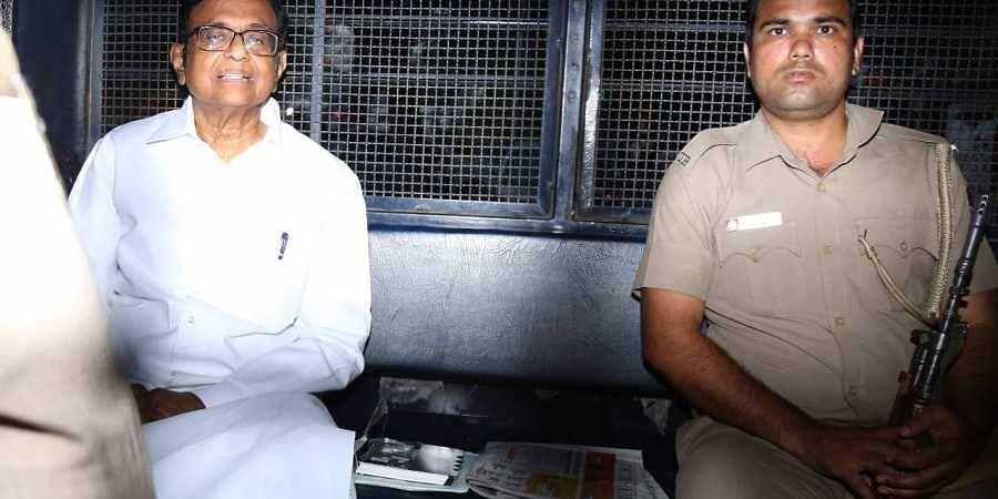 Former finance minister P Chidambaram being taken to Tihar jail